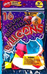 12 Units of Balloon 16Ct Happy B'Day - Balloons & Balloon Holder