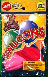 12 Units of Balloons 12Ct Super Rounds - Balloons & Balloon Holder