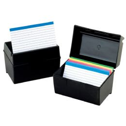 12 Units of Oxford Plastic Index Card Boxes, 3 Inch X 5 Inch, Black - Dividers & Index Cards
