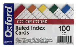 20 Units of Oxford® Color Coded Ruled Index Cards, 3 Inch X 5 Inch, Assorted Colors, 100 Per Pack - Dividers & Index Cards