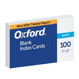16 Units of Oxford Blank Index Cards, 5 Inch X 8 Inch, White, 100 Per Pack - Dividers & Index Cards