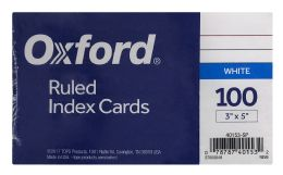20 Units of Oxford Ruled Index Cards, 3 Inch X 5 Inch, White, 100 Per Pack - Dividers & Index Cards