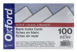 6 Units of Oxford® Blank Index Cards, 4 Inch X 6 Inch, White, 100 Per Pack - Dividers & Index Cards