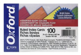 12 Units of Oxford Neon Index Cards, 3 Inch X 5 Inch, Ruled, Assorted Colors, 100 Per Pack - Dividers & Index Cards