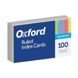 20 Units of Oxford Ruled Color Index Cards, 3 Inch X 5 Inch, Assorted Colors, 100 Per Pack - Dividers & Index Cards