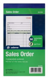 10 Units of Sales Order Book, 2-Part, Carbonless, 50 Sets Per Book - Office Supplies
