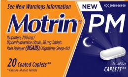 12 Units of Motrin Pm Caplet 20Ct - Pain and Allergy Relief