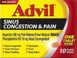 12 Units of Advil Sinus Congestion 10ct - Medical Supply