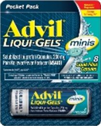 12 Units of Advil Liquigels 8Ct Mini Card - Pain and Allergy Relief