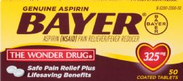 6 Units of Bayer Aspirin 50Ct Tabs 325Mg - Pain and Allergy Relief