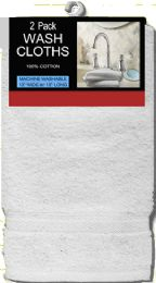 6 Units of Cotton Wash Cloths 2Pk White - Shower Accessories
