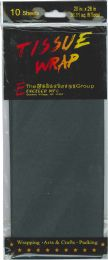 12 Units of Tissue Paper Black 10 Sheets - Gift Wrap
