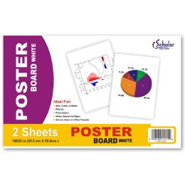 24 Units of Ischolar Poster Board White, 14 Inch X 22 Inch, 2 Sheets - Poster & Foam Boards