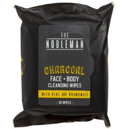 24 Units of Face & Body Mens Wipes 30ct Charcoal Nobleman In 24pc Pdq - Personal Care Items