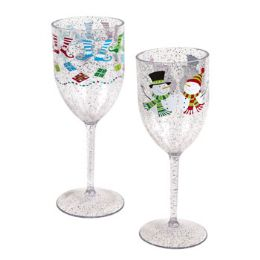 48 Units of Wine Glass Christmas Printed - Glassware