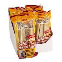 12 Units of Dog Treats 2pk Double Twisted - Pet Chew Sticks and Rawhide