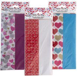 48 Units of Tissue 8ct 3ast Valentine Print 4pc Solid/4print Per pk - Gift Wrap