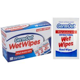 24 Units of Wipes 18ct Alcohol Antibacterial Germ Out Individually Wrapped - Personal Care Items