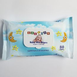 24 Units of Baby Wipes 80ct Blue Plastic Lid Closure Babyish - Personal Care Items