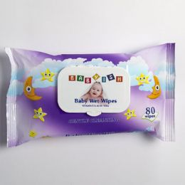 24 Units of Baby Wipes 80ct Purple Plastic Lid Closure Babyish - Personal Care Items