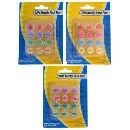 48 Units of Push Pins 12pc Novelty Worded 3ast 12pc Mdsgstrip/stat Blister - Push Pins and Tacks