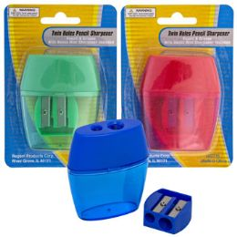 36 Units of Pencil Sharpener 2hole W/bonus Mini Sharpener 3asst Colors/blc - Sharpeners