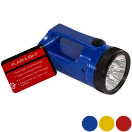 24 Units of Flashlight Led 4.84in 3ast Clr W/handle Blue/yell/red Hdwr ht - Flash Lights