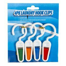 48 Units of Laundry Hook W/clip 4pk Plastic - Laundry  Supplies