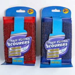 24 Units of Scourer Sponges 2pk Heavy Duty - Scouring Pads & Sponges