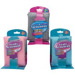 24 Units of Scourer Sponges 3pk 3asst - Scouring Pads & Sponges