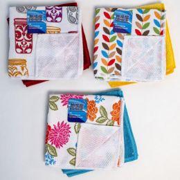 48 Units of Dish Cloth W/mesh Scrub Side 2pk - Scouring Pads & Sponges