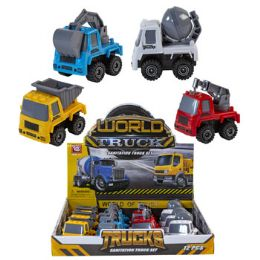 24 Units of Construction Toy Trucks 4ast 2.5in Free Wheel/12pc Pdq Label - Cars, Planes, Trains & Bikes