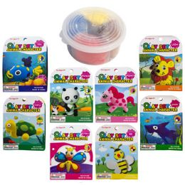 24 Units of Clay Set Animal Character 8asst Container W/lid & Wrap Card - Clay & Play Dough