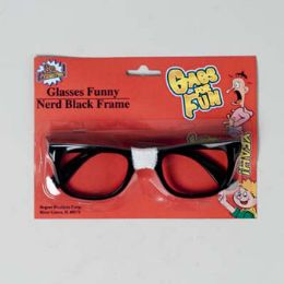 48 Units of Eyeglass Funny Nerd Blk Frame - Novelty & Party Sunglasses