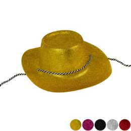 24 Units of Cowboy Hat Glitter Plastic 5ast Clrs/upc Label/adult Size - Costumes & Accessories