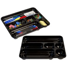 24 Units of Drawer Organizer Plastic Black Pp 11.5x9in 6 Wells Upc Label - Storage Holders and Organizers