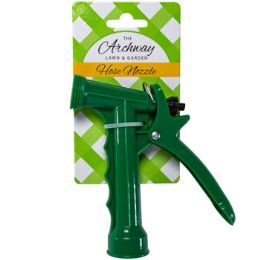 48 Units of Hose Nozzle Plastic Pistol Green 5in L/garden Tie On Card - Garden Hoses and Nozzles