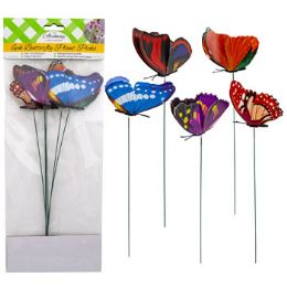 48 Units of Butterfly Planter Picks 6pk 12in - Garden Planters and Pots