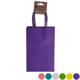 36 Units of Gift Bag 3pk Small Kraft Paper - Gift Bags Assorted