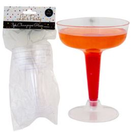 24 Units of Champagne Glass 3pk Plastic 4.25 X 3.25 Dia Party Pbh - Disposable Tableware