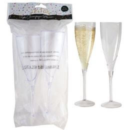 36 Units of Champagne Flute Glass Set 2pk - Disposable Tableware