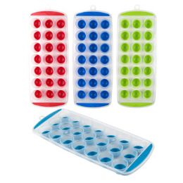 48 Units of Ice Ball Tray W/easy Pop Out 21slots/4ast Summer Colors - Freezer Items