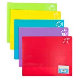 120 Units of Cutting Board Flexi Mat Non Slip 15x12in 5ast Colors W/food Icons - Cutting Boards