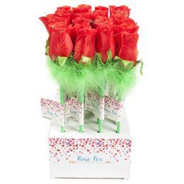 48 Units of Rose Ballpoint Pen 12in Red - Ballpoint Pens