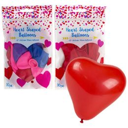 48 Units of Balloons Heart Shape 10ct Latex - Balloons & Balloon Holder