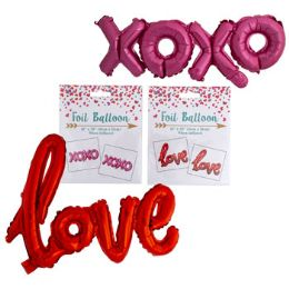 48 Units of Balloon Foil Xoxo/love Script - Balloons & Balloon Holder