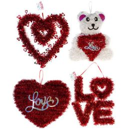 24 Units of Tinsel Decor Valentine 4ast - Hanging Decorations & Cut Out