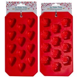 36 Units of Ice Cube Tray Valentine 2ast 4.5x8.75in Red Heart/flower - Freezer Items