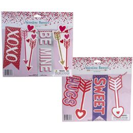 36 Units of Banner Valentine 5ft 2asst W/glitter & Hotstamp Icons - Party Banners