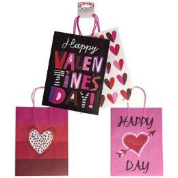 36 Units of Gift Bag Kraft Med 2pk Valentine - Gift Bags Assorted